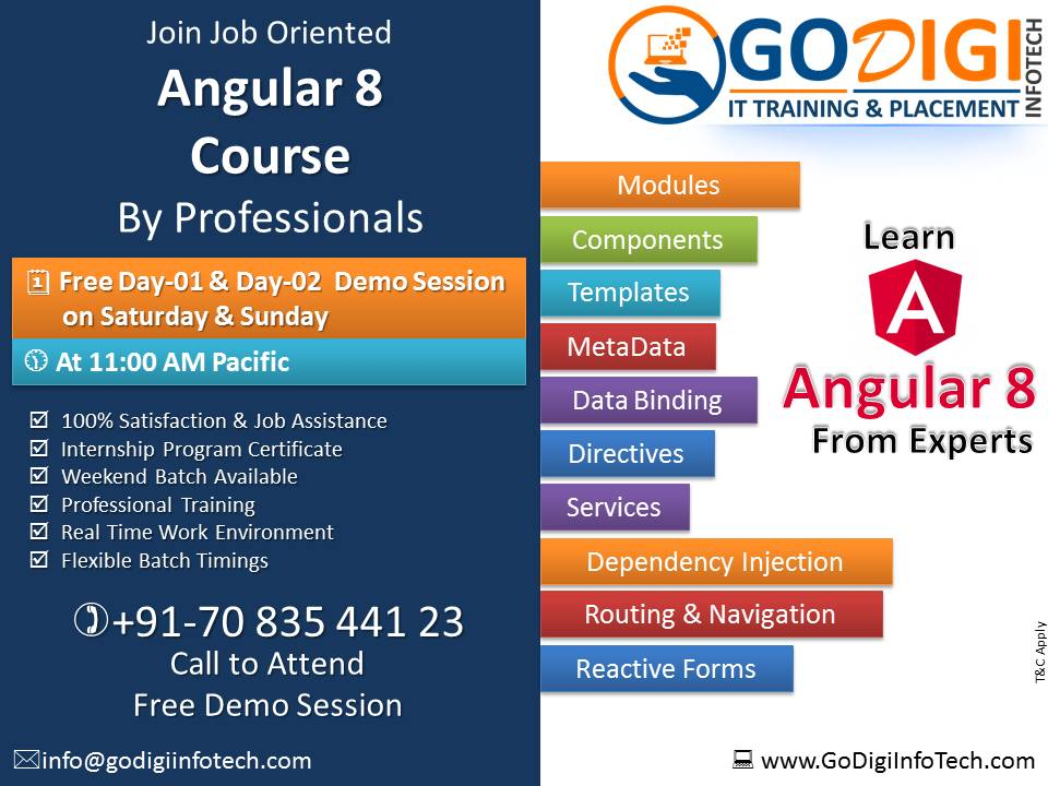 Join Job Oriented Angular 8 Course and get 100% placement